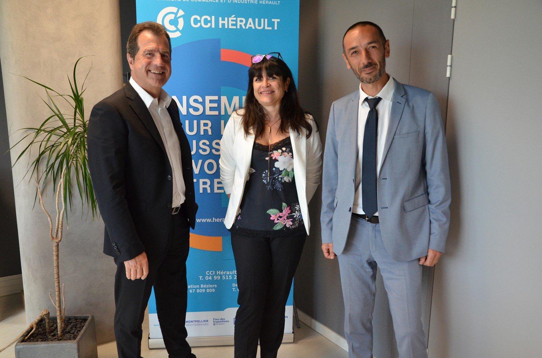 De gauche à  droite : André Deljarry, Président de la CCI Hérault 1er Vice-Président de la CCI Occitanie, Valérie Issert Directrice Territoriale Déléguée Hérault et Joseph Sanfilippo, Directeur Territorial Pôle emploi Hérault.